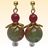 Agate Drop Earrings in Holiday Colors
