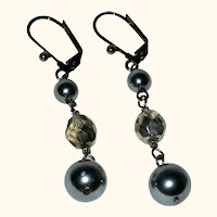 Imitation Gray Pearl Drop Earrings