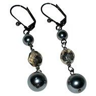 Imitation Gray Pearl Drop Earrings