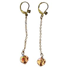 Delicate Drop Earrings with Aurora Crystals