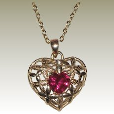 """10K Ruby Heart Pendant with 18"""" Chain - Flowers"""