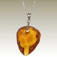 """Citrine Nugget Pendant Necklace with Sterling Silver Bale and 18"""" Chain"""