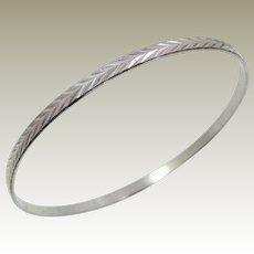 Sterling Silver Milor Bangle Bracelet with Incised Chevron Design