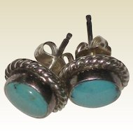 Turquoise and Sterling Post Earrings with Rope Border