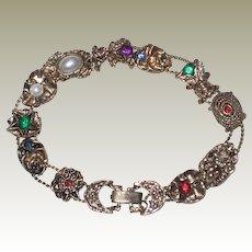 "1960's Gold-tone Slide Bracelet with Eleven Different Slides - Flowers, Bee - 7.5"""