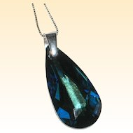 Swarovski Deep Blue Faceted Crystal Pendant with Sterling Bail and Chain