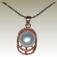 Sterling Silver & Rose Gold Vermeil Button Cultured Pearl Pendant