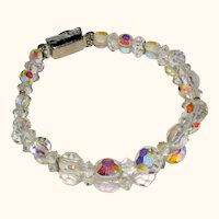 Aurora Borealis Two Strand Crystal Bracelet with Diamante Clasp