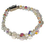 Aurora Borealis Two Strand Crystal Bracelet with Diamante Clasp