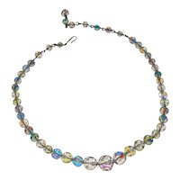 Aurora Borealis Necklace with Graduated Crystal Beads