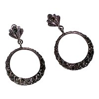 Art Deco Marcasite Sterling Post Hoop Earrings