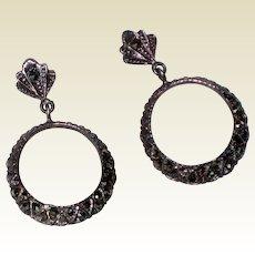 Art Deco Marcasite Sterling Post Hoop Earrings