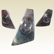 Mexican Sterling Silver and Labradorite Modernist Pendant and Pierced Earrings
