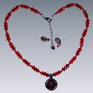 Carolee Signed Ruby Red Necklace and Pierced Earrings