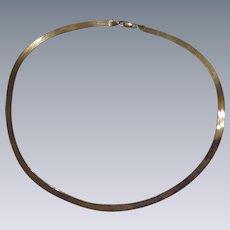 "14K Yellow Gold Aurafin ""Mirror Flex"" Herringbone Necklace - 18 "" - 9 Grams"