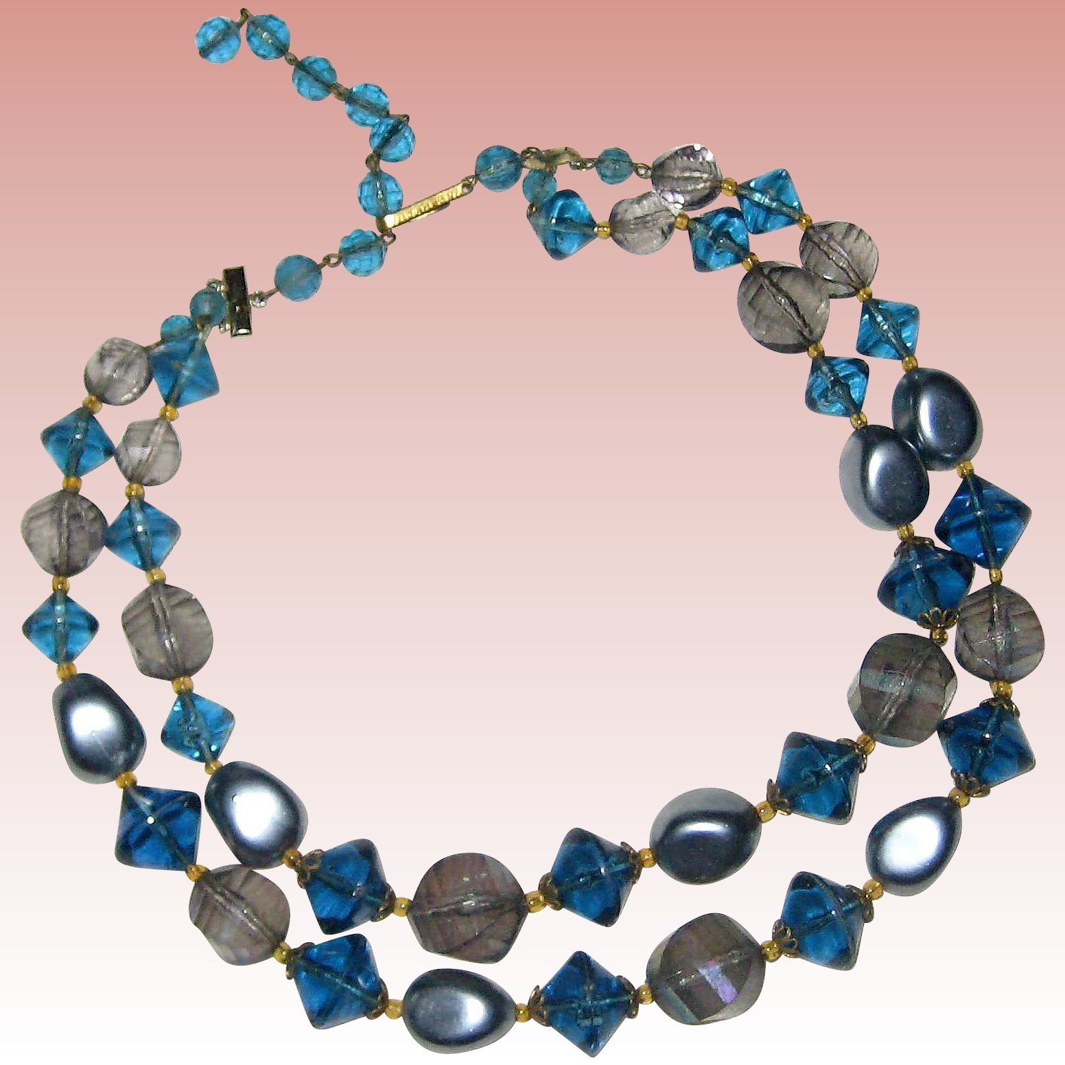 stone lazuli blue bead necklace pin lapis beaded