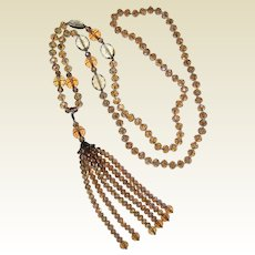 "36"" Faceted Aurora Crystal Flapper Style Necklace with Removable Tassel"
