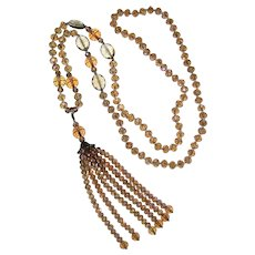 """36"""" Faceted Aurora Crystal Flapper Style Necklace with Removable Tassel"""