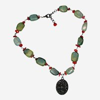 """Tibetan Serpentine and Coral Necklace with Bronze Medallion - 16"""""""