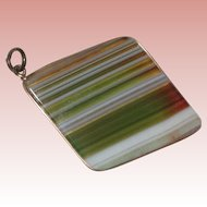 Edwardian Banded Agate Fob Charm or Pendant with 9K Gold Band