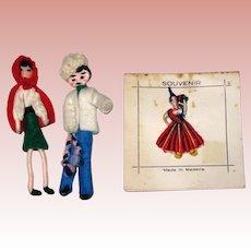 Three 1960's Souvenir Doll Pins