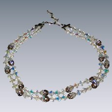 Two Strand Aurora Borealis Crystal Necklace with Rhinestone Studded Accent Beads