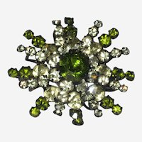 Austrian Brooch with Green Crystals and Japanned Metal Setting