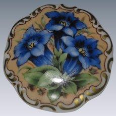 Schumann Bavaria Porzellan Brooch with Blue Gentian Alpine Wildflowers