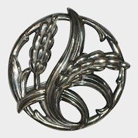 1950's Danecraft Sterling Silver Wheat Brooch