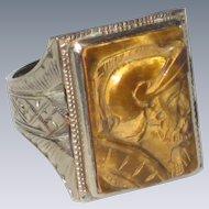 10K White Gold Tiger Eye Cameo Ring with Centurion or Conquistador - Art Deco Era - Size 7.5