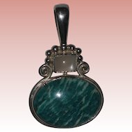 Retired Sajen Sterling Silver Pendant with Blue-Green Amazonite and Moonstone