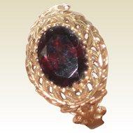 10K Yellow Gold Rubelite or Red Tourmaline Ring - Size 7 - Beautiful Setting