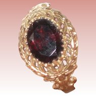 10K Yellow Gold Rubelite or Red Tourmaline Ring - Size 7 - Beautiful Setting