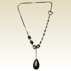 Polished Pyrite and Herkimer Diamond Watch Fob Necklace - 18""