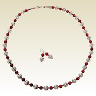 """Southwestern 26"""" Necklace and Earrings with Silver Plated and Coral Colored Beads"""