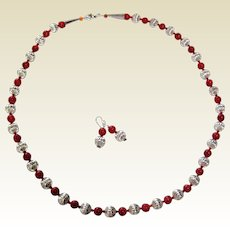"Southwestern 26"" Necklace and Earrings with Silver Plated and Coral Colored Beads"