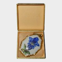 Rosenthal Hand Painted Porcelain Blue Gentian Wildflower Pendant in Original Box