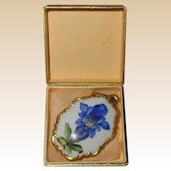 Rosenthal Hand Painted Porcelain Blue Gentian Wildflower Pendant in Original Box