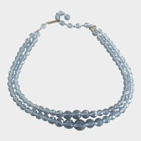 Vintage Ice Blue Faceted Glass Two Strand Graduated Necklace
