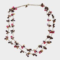 """Vintage Coldwater Creek Necklace with Pink and Purple Clusters of Glass Briolettes 30"""""""