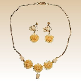Cream Colored Celluloid Roses Necklace and Earrings Set