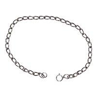 "Sterling Silver Open Link  Curb Chain - 7 1/2"" - Starter Charm Bracelet"