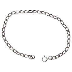 "Sterling Silver Open Link  Curb Chain - 7 1/2"" - Starter Charm Bracelet"