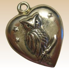 Sterling Silver Puffy Heart Owl Charm