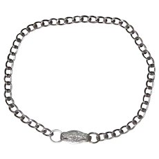 "1940's Sterling Silver Curb Chain Bracelet with Clip Bail Clasp - 7"" - Starter Charm Bracelet"