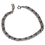 "Hearts and Flowers Sterling Bracelet with Extender -  7 1/2"" - 8"" - Starter Charm Bracelet"