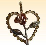 Coleman 14K Black Hills Gold Heart Pendant with Rose - 3 Grams