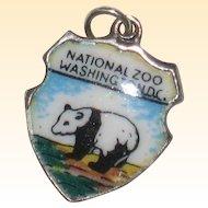 National Zoo, Washington DC  Panda - Sterling Silver and Enamel Charm