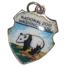 National Zoo, Washington DC  Panda - Sterling Silver and Enamel Charm