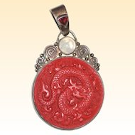 Large Sajen Carved Cinnabar Dragon Pendant - Sterling Silver with Garnet and Moonstone